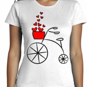 Camiseta Cool Fashion con bicicleta corazones