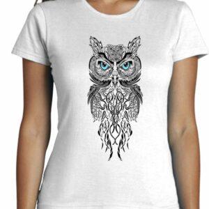 Camiseta con diseño de buho para mujer