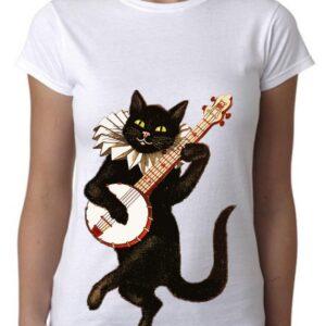 Camiseta vintage gato tocando el Banyo