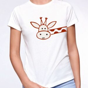pon tu publicidad en una camiseta Jirafa curiosa