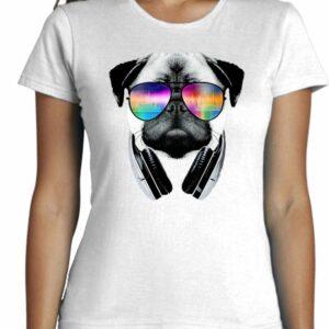 Camiseta Cool cabeza de perro con cascos de musica