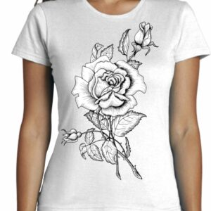 Camiseta Cool con dibujo de una rosa blanca