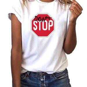 publicidad en camisetas entalladas de mujer don´t stop