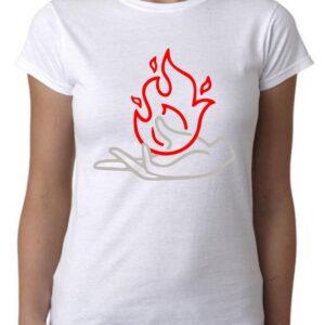 Camiseta minimalistas dibujo mano llama fuego
