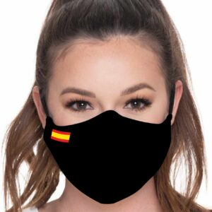 Mascarilla con bandera de España fondo negro