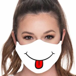 mascarillas con dibujo de cara con lengua fuera