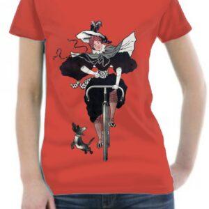 Camiseta retro señorita con bicicleta